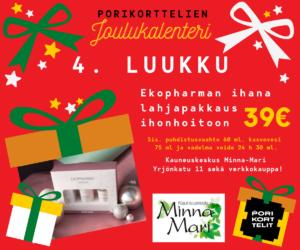 Porikorttelien Joulukalenteri, luukku 4: Kauneuskeskus Minna-Marissa ihana Ekopharman lahjapakkaus ihonhoitoon 39€